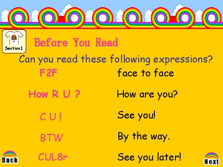 Section 1 Before You Read Can you read these following expressions? F 2 F