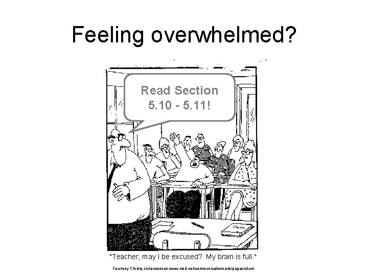 "Feeling overwhelmed? Read Section 5. 10 - 5. 11! Chemis try ""Teacher, may I"