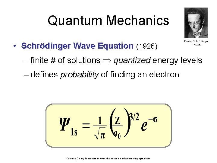 Quantum Mechanics • Schrödinger Wave Equation (1926) Erwin Schrödinger ~1926 – finite # of