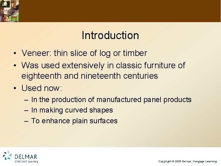 Introduction • Veneer: thin slice of log or timber • Was used extensively in