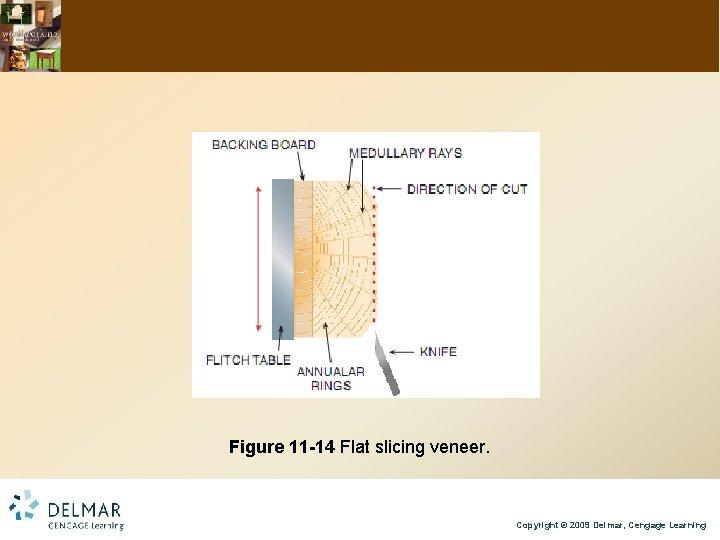 Figure 11 -14 Flat slicing veneer. Copyright © 2009 Delmar, Cengage Learning