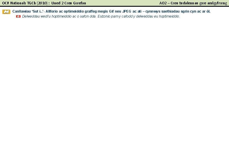 OCR Nationals TGCh (2010) : Uned 2 Creu Gwefan AO 2 – Creu tudalennau