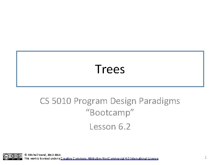 "Trees CS 5010 Program Design Paradigms ""Bootcamp"" Lesson 6. 2 © Mitchell Wand, 2012"
