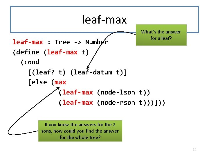 leaf-max What's the answer for a leaf? leaf-max : Tree -> Number (define (leaf-max