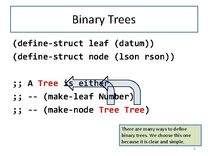 Binary Trees (define-struct leaf (datum)) (define-struct node (lson rson)) ; ; A Tree is