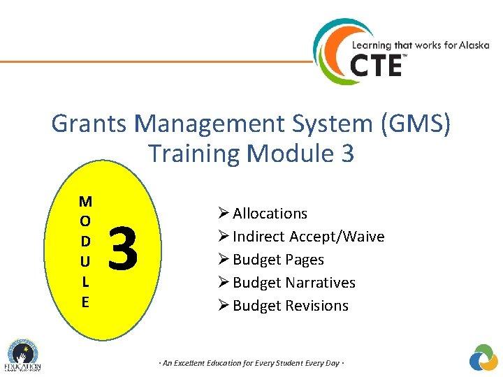Grants Management System (GMS) Training Module 3 M O D U L E 3