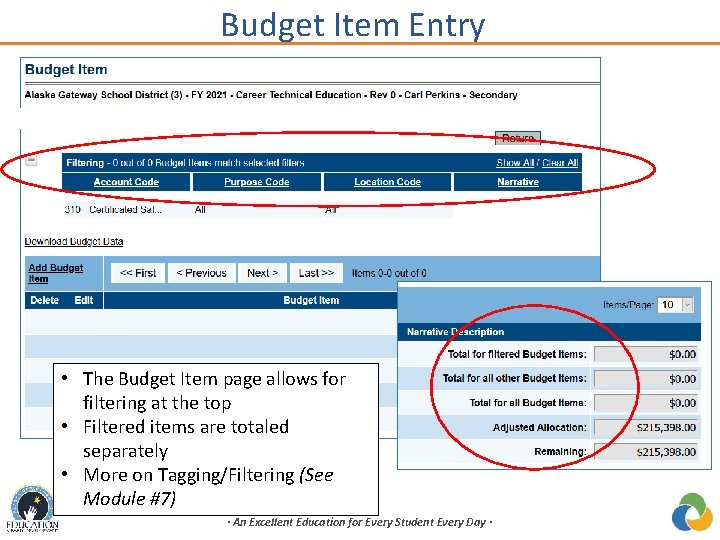 Budget Item Entry • The Budget Item page allows for filtering at the top
