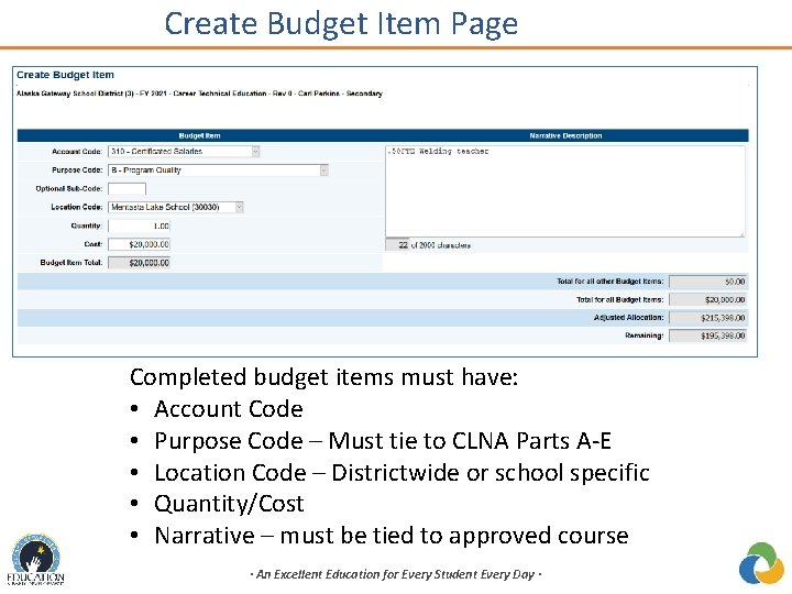 Create Budget Item Page Completed budget items must have: • Account Code • Purpose