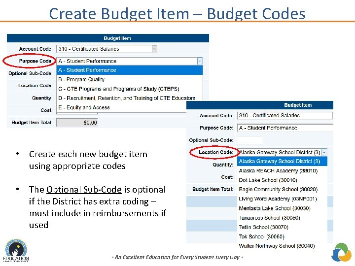 Create Budget Item – Budget Codes • Create each new budget item using appropriate