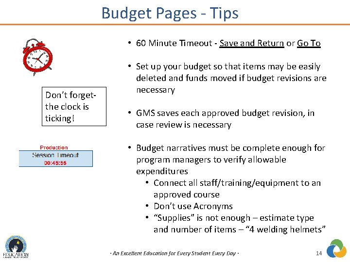 Budget Pages - Tips • 60 Minute Timeout - Save and Return or Go