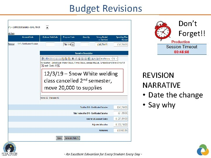 Budget Revisions Don't Forget!! 12/3/19 – Snow White welding class cancelled 2 nd semester,