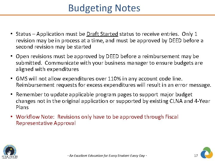Budgeting Notes • Status – Application must be Draft Started status to receive entries.