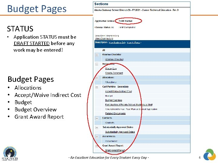 Budget Pages STATUS • Application STATUS must be DRAFT STARTED before any work may
