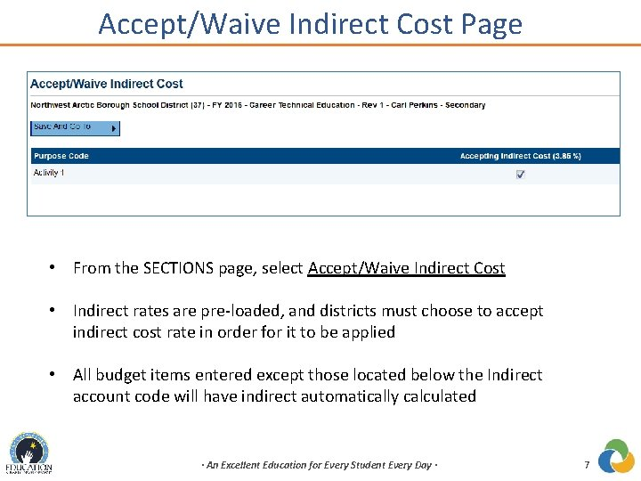 Accept/Waive Indirect Cost Page • From the SECTIONS page, select Accept/Waive Indirect Cost •