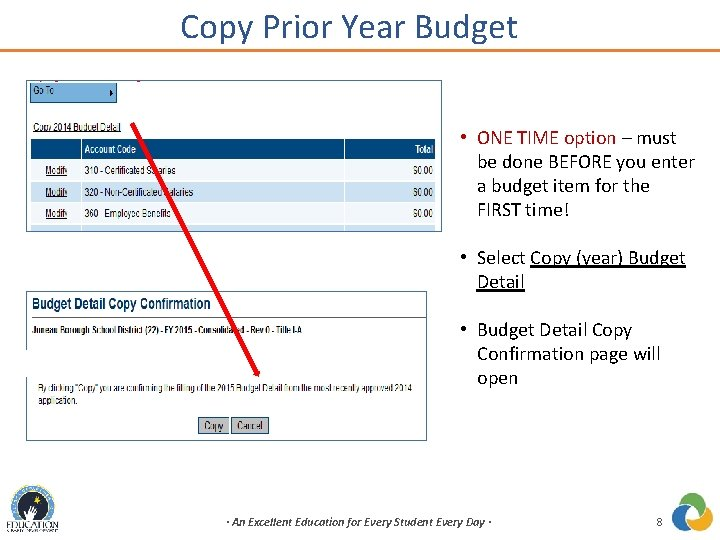 Copy Prior Year Budget • ONE TIME option – must be done BEFORE you