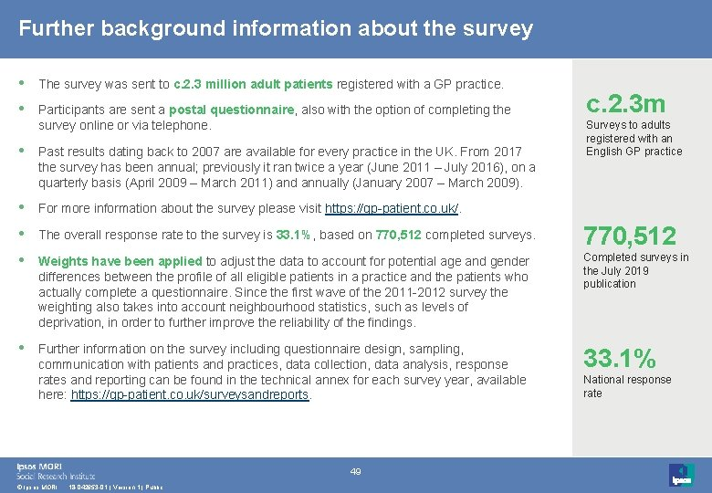 Further background information about the survey • The survey was sent to c. 2.