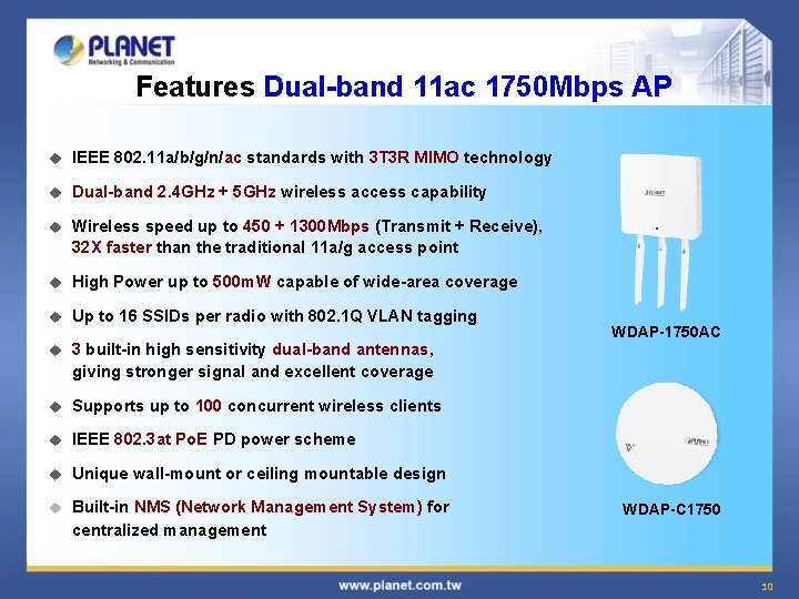 Features Dual-band 11 ac 1750 Mbps AP u IEEE 802. 11 a/b/g/n/ac standards with