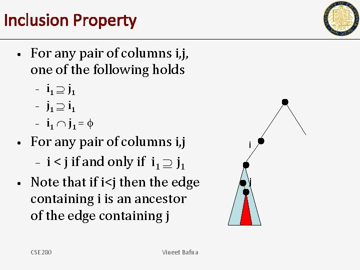 Inclusion Property • For any pair of columns i, j, one of the following