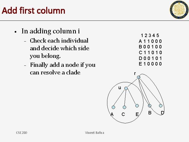 Add first column • In adding column i – – 12345 A 11000 B