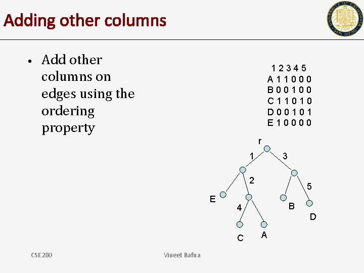 Adding other columns • Add other columns on edges using the ordering property 12345