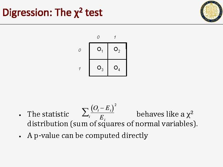 Digression: The χ2 test • • 0 1 0 O 1 O 2 1