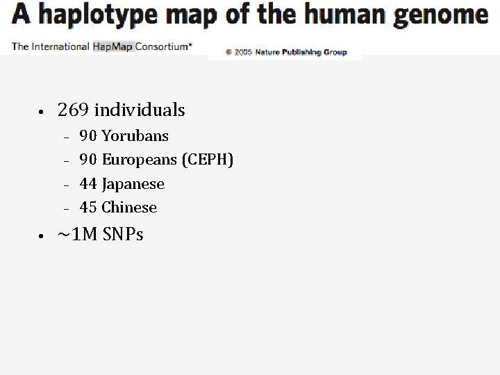 • 269 individuals – – • 90 Yorubans 90 Europeans (CEPH) 44 Japanese