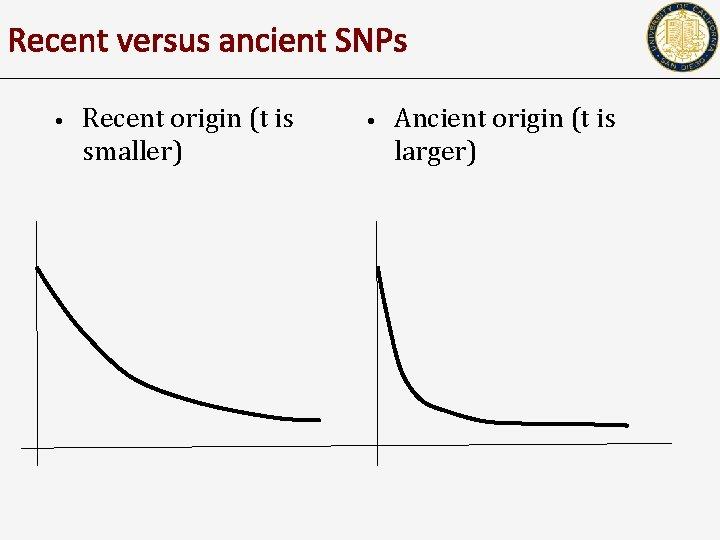 Recent versus ancient SNPs • Recent origin (t is smaller) • Ancient origin (t