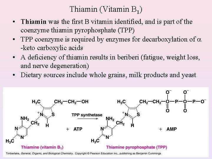 Thiamin (Vitamin B 1) • Thiamin was the first B vitamin identified, and is