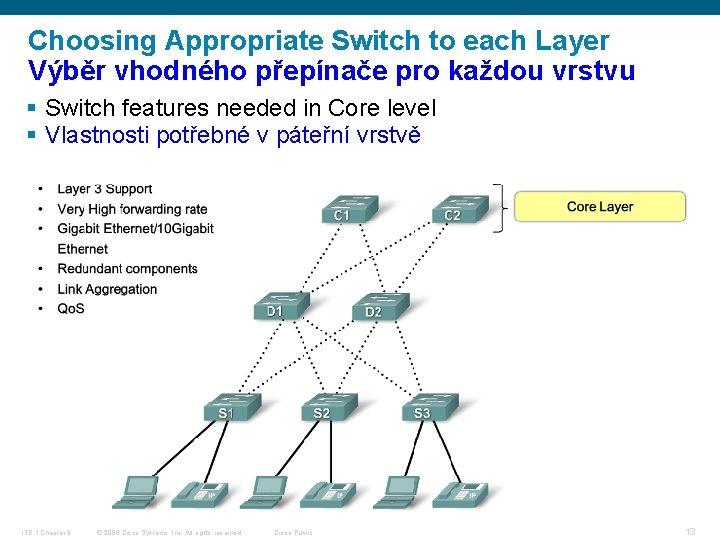 Choosing Appropriate Switch to each Layer Výběr vhodného přepínače pro každou vrstvu § Switch