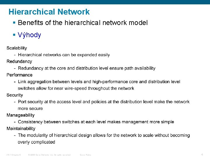 Hierarchical Network § Benefits of the hierarchical network model § Výhody ITE 1 Chapter