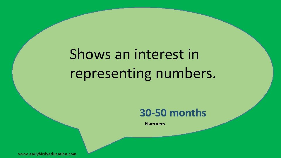 Shows an interest in representing numbers. 30 -50 months Numbers www. earlybirdyeducation. com