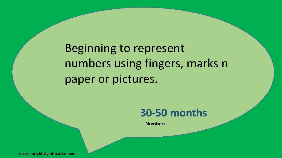 Beginning to represent numbers using fingers, marks n paper or pictures. 30 -50 months
