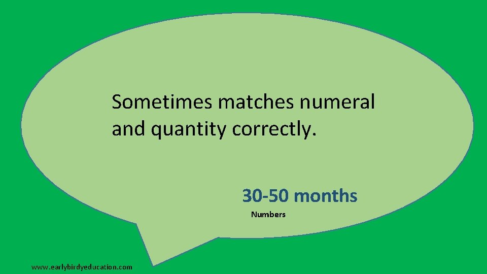 Sometimes matches numeral and quantity correctly. 30 -50 months Numbers www. earlybirdyeducation. com