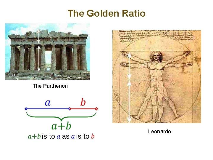 The Golden Ratio The Parthenon Leonardo