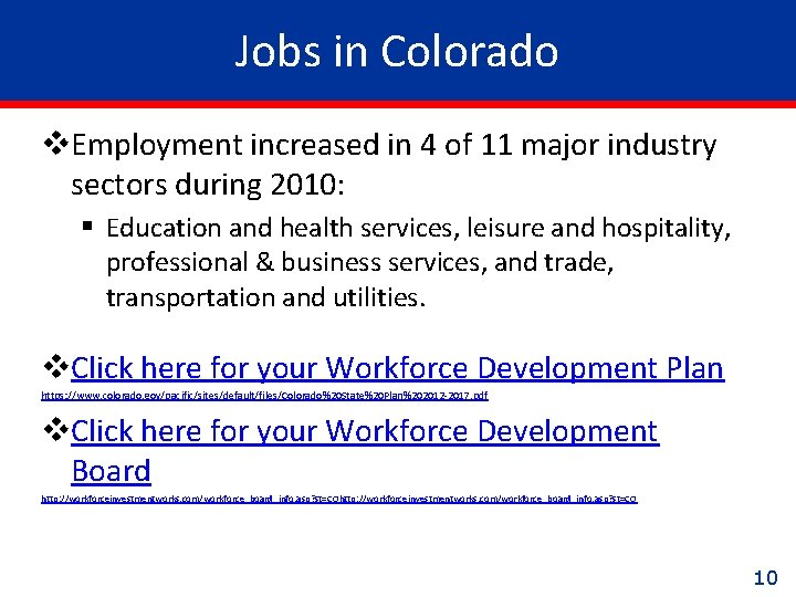 Jobs in Colorado v. Employment increased in 4 of 11 major industry sectors during