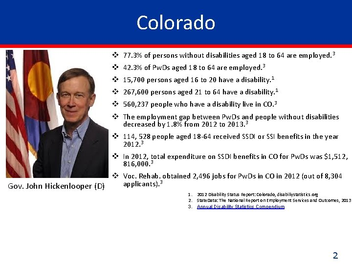 Colorado v 77. 3% of persons without disabilities aged 18 to 64 are employed.