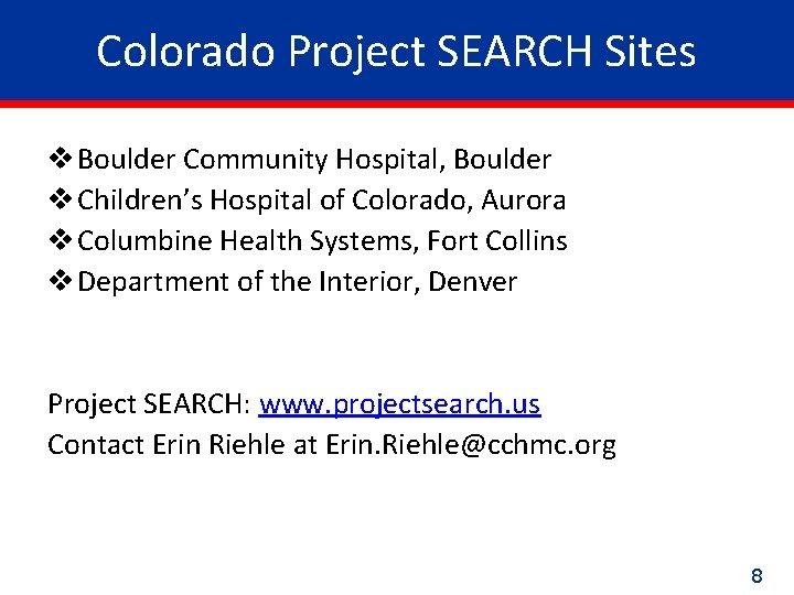 Colorado Project SEARCH Sites v Boulder Community Hospital, Boulder v Children's Hospital of Colorado,