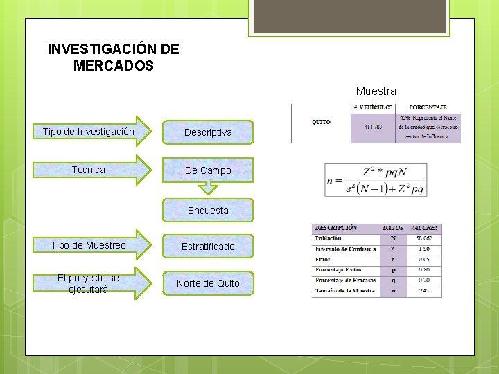 INVESTIGACIÓN DE MERCADOS Muestra Tipo de Investigación Descriptiva Técnica De Campo Encuesta Tipo de