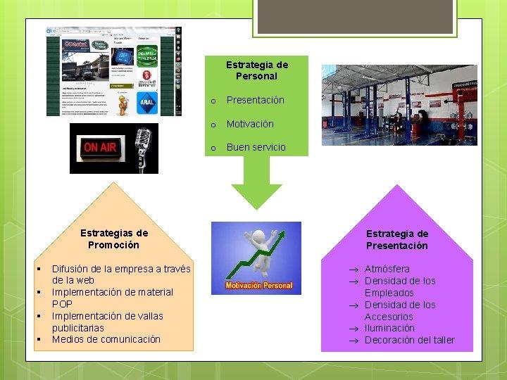 Estrategia de Personal o Presentación o Motivación o Buen servicio Estrategias de Promoción §