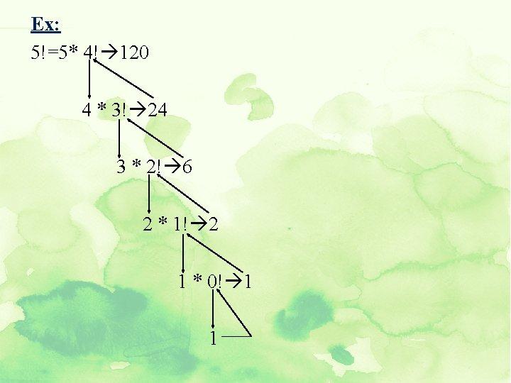 Ex: 5!=5* 4! 120 4 * 3! 24 3 * 2! 6 2 *