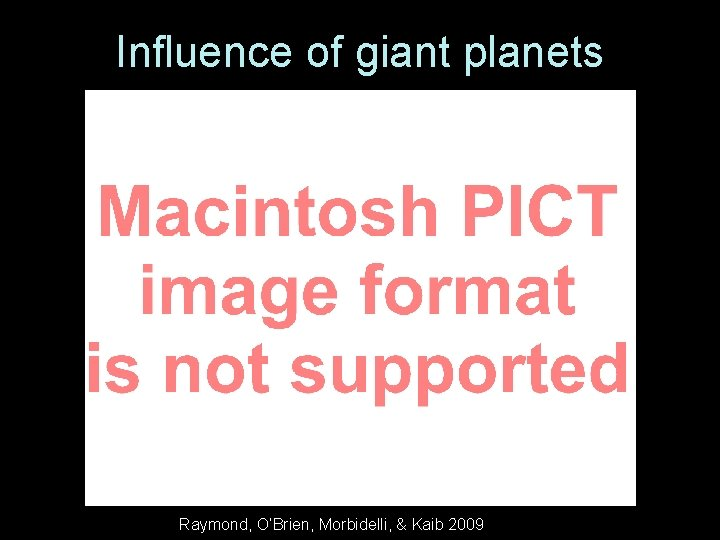 Influence of giant planets Raymond, O'Brien, Morbidelli, & Kaib 2009