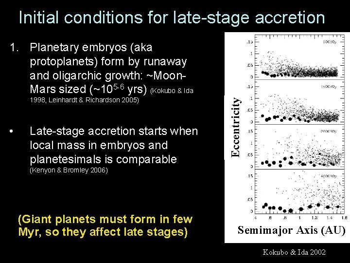 Initial conditions for late-stage accretion 1998, Leinhardt & Richardson 2005) • Late-stage accretion starts