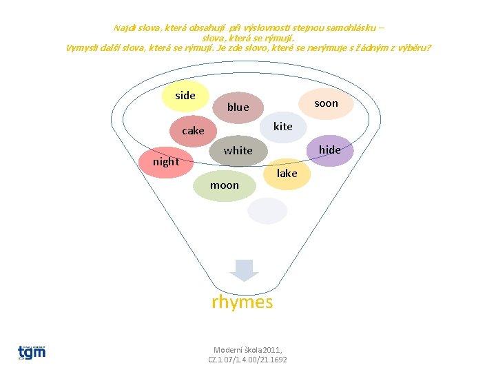 Najdi slova, která obsahují při výslovnosti stejnou samohlásku – slova, která se rýmují. Vymysli