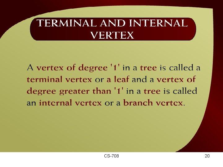 Terminal and Internal Vertex – (44 12) CS-708 20