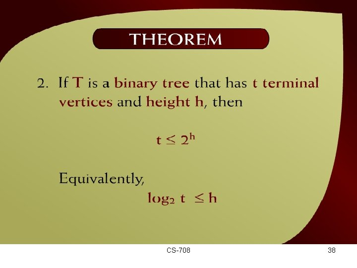 Theorem – (44 – 18 a) CS-708 38