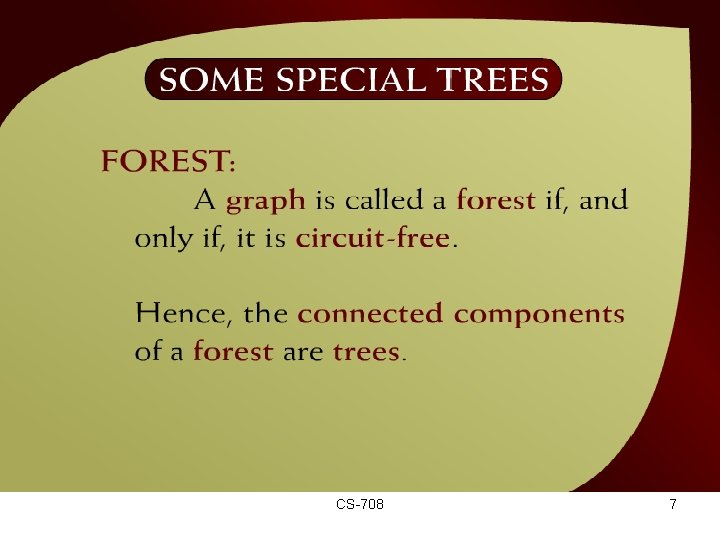 Some Special Trees – (44 – 5 a) CS-708 7