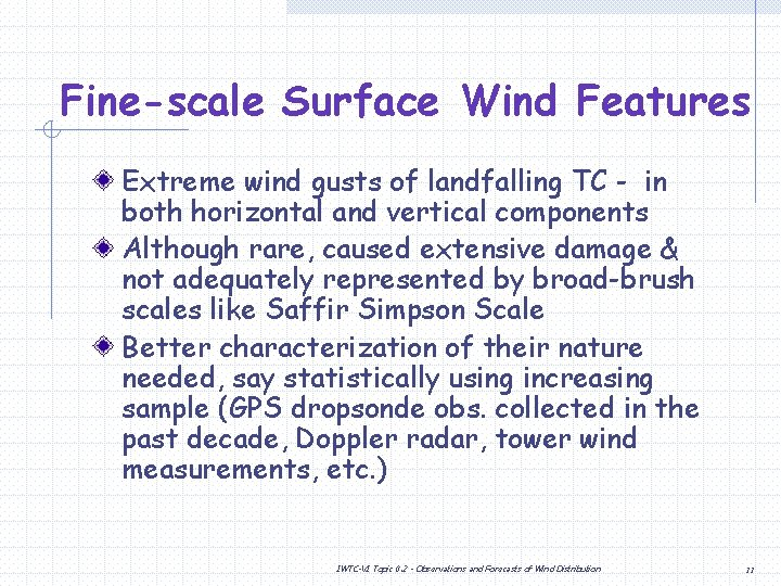 Fine-scale Surface Wind Features Extreme wind gusts of landfalling TC - in both horizontal