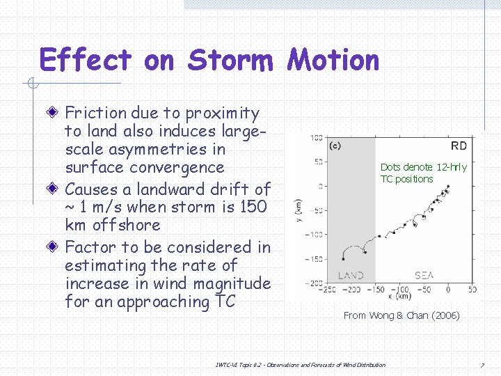 Effect on Storm Motion Friction due to proximity to land also induces largescale asymmetries