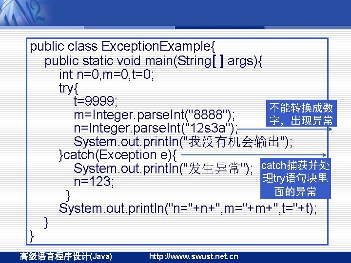 public class Exception. Example{ public static void main(String[ ] args){ int n=0, m=0, t=0;