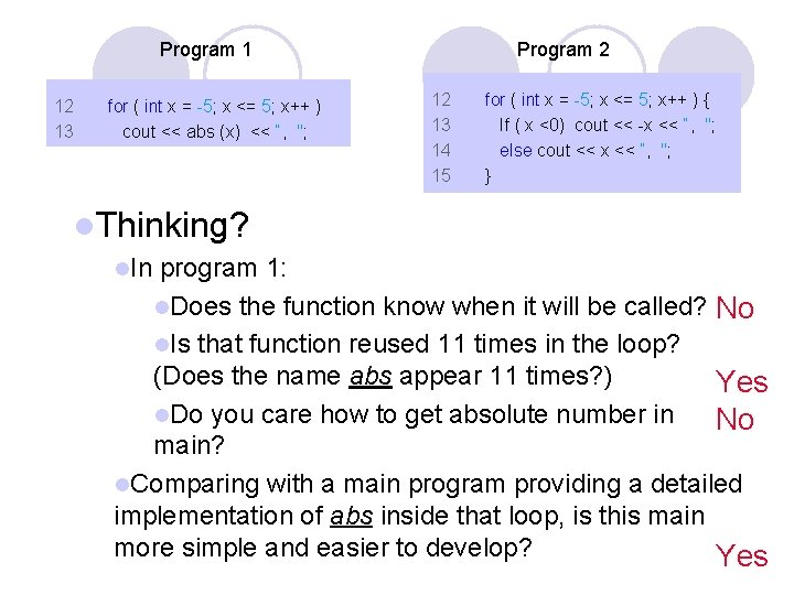 Program 1 12 13 for ( int x = -5; x <= 5; x++